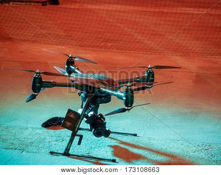 MUNICH GERMANY - FEBRUARY 16 2017: Aerialtronics company demonstrates its drone for visual inspection of hard to reach objects at IBM Genius of Things Summit in Munich Germany on February 16 2017