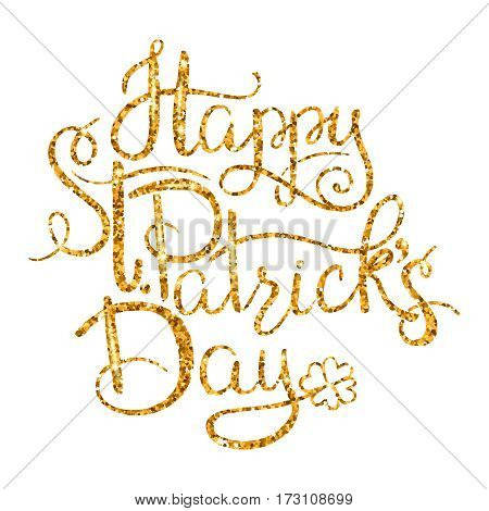 St. Patricks Day greetings. Gold money lettering on transparent background. Symbol of good luck and wealth, traditions of Ireland holiday