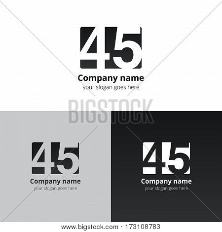 45 logo icon flat and vector design template. Monogram years numbers four and five. Logotype forty-five with black-grey gradient color. Creative vision concept logo, elements, sign, symbol for card,