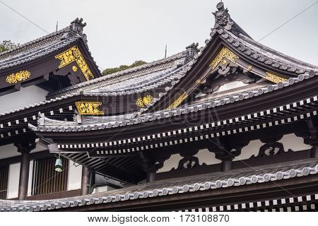 Architecture of traditional japanese rooftops