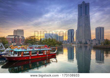 Cityscape of Yokohama city at sunset, Japan