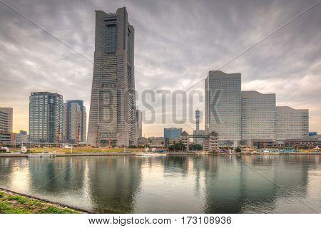Cityscape of Yokohama city at cloudy day, Japan