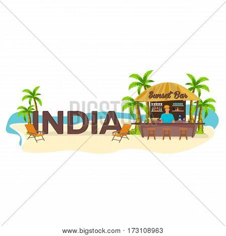 India. Travel. Palm, Drink, Summer, Lounge Chair, Tropical.
