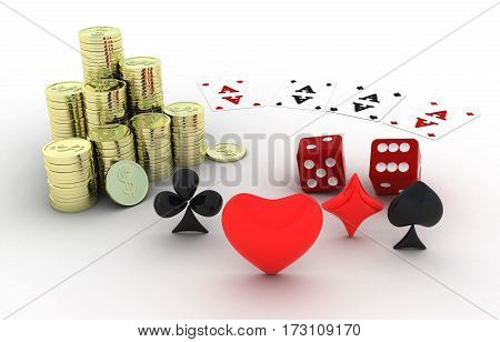 Gambling. Four cards coins stars. White background 3D render