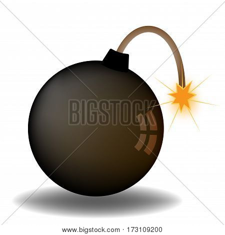 Round bomb. The core of a burning wick. Vector illustration. Isolated on white background