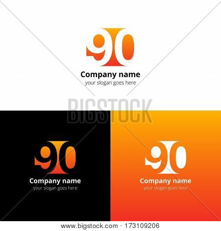 90 logo icon flat and vector design template. Monogram years numbers nine and zero. Logotype ninety with orange-yellow gradient color. Creative vision concept logo, elements, sign, symbol for card,