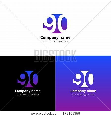 90 logo icon flat and vector design template. Monogram years numbers nine and zero. Logotype ninety with violet-pink gradient color. Creative vision concept logo, elements, sign, symbol for card,