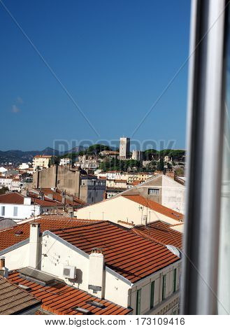 Cannes France French Riviera rooftop view of tile roof and old town