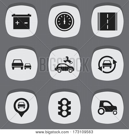 Set Of 9 Editable Car Icons. Includes Symbols Such As Pointer, Highway, Automotive Fix And More. Can Be Used For Web, Mobile, UI And Infographic Design.