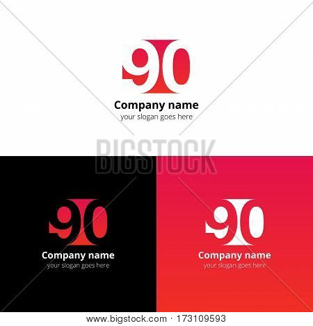 90 logo icon flat and vector design template. Monogram years numbers nine and zero. Logotype ninety with red-pink gradient color. Creative vision concept logo, elements, sign, symbol for card,