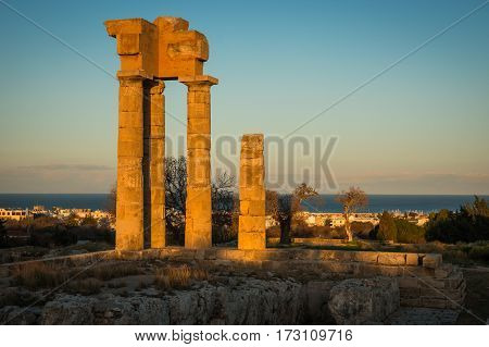 Acropolis Of Rhodes Island In Greece