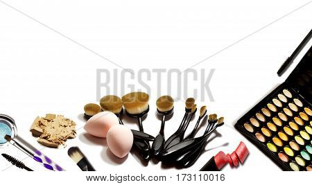 Professional make-up tools isolated on white background