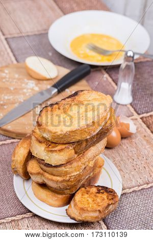 Preparing French Toast In Domestic Kitchen