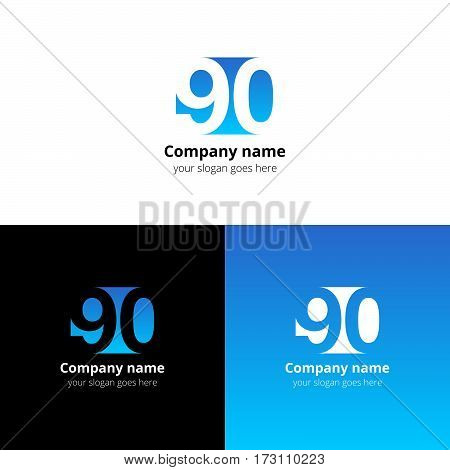 90 logo icon flat and vector design template. Monogram years numbers nine and zero. Logotype ninety with light blue gradient color. Creative vision concept logo, elements, sign, symbol for card,