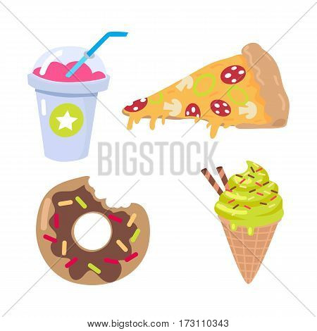 Collection of kinds of food. Pink smoothie in closed cup with blue straw. Piece of pizza with salami, mushrooms, cheese. Chocolate doughnut with confetti. Ice cream cone. Cartoon style. Vector