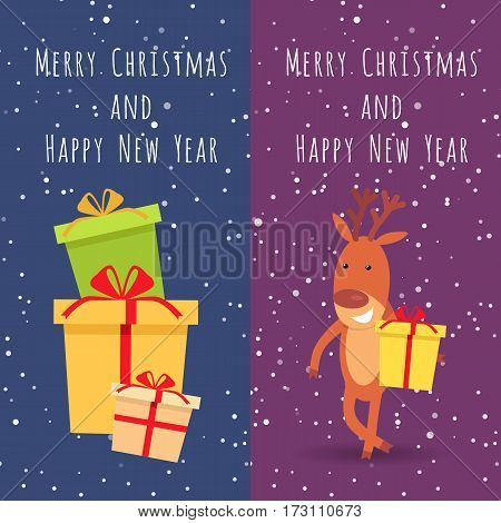 Merry Christmas and Happy New Year. Collection of two banners. Picture of many festival boxes with presents. Illustration of smiling deer holds yellow gift box. Cartoon style. Flat design. Vector