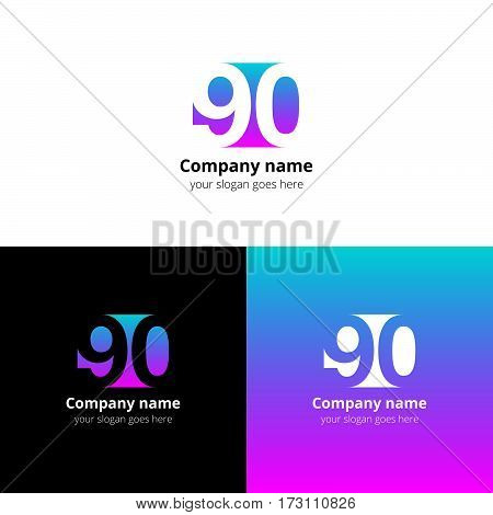 90 logo icon flat and vector design template. Monogram years numbers nine and zero. Logotype ninety with green-blue gradient color. Creative vision concept logo, elements, sign, symbol for card,