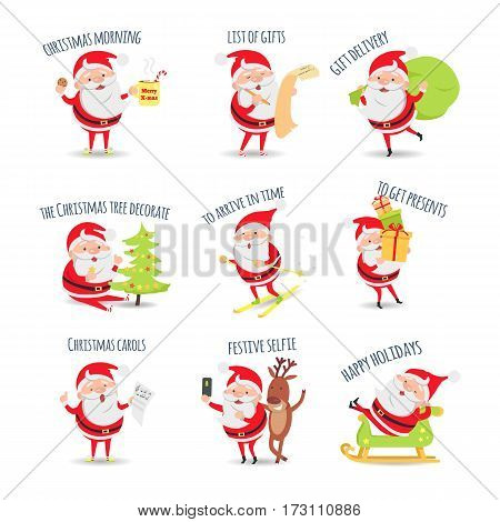 Santa Claus. Collection of posters. Xmas morning. List of gifts. Gift delivery. The christmas tree decorate. To arrive in time. To get presents. Christmas carols. Festive selfie. Happy holiday. Vector