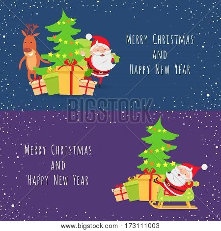 Merry Christmas and Happy New Year. Set of two banners. Santa Claus and deer near decorated Christmas tree with gift boxes. Santa Claus lying in his wooden sleigh. Cartoon design. Flat design. Vector