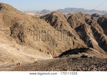 Walk through the mountains near the Gulf of Eilat Red Sea in Israel