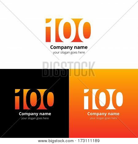100 logo icon flat and vector design template. Monogram years numbers one and zero. Logotype one hundred with orange-yellow gradient color. Creative vision concept logo, elements, sign, symbol.