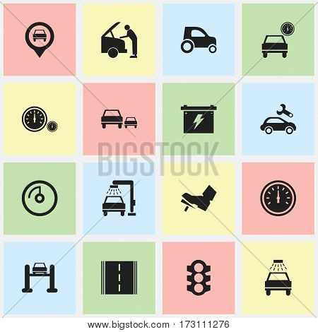 Set Of 16 Editable Vehicle Icons. Includes Symbols Such As Speed Control, Auto Service, Battery And More. Can Be Used For Web, Mobile, UI And Infographic Design.