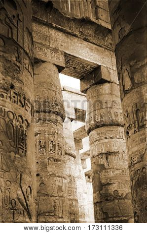 columns with cuneiform writing of Amon-Ra's temple in Luxor