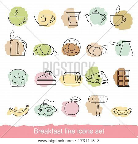Breakfast icons set. Collection breakfast icons in thin line style.