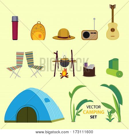 Flat camping elements collection with backpacking tourist outdoor recreation equipment and accessories on light background isolated vector illustration