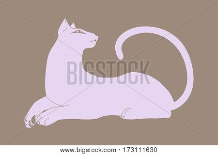 Cat lying down pussycat silhouette. Stylized vector image.