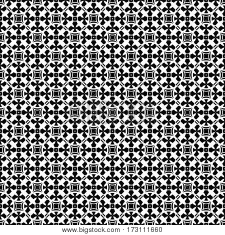 Vector ornamental seamless pattern. Monochrome black & white abstract background. Repeat mosaic texture in oriental style, illustration of lattice. Geometric tiles. Design for prints, textile, decor
