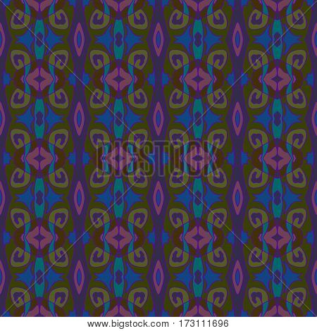 Ornamental decorative seamless pattern. Vector background texture. Blue navy purple and olive green colors.