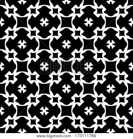 Vector monochrome seamless pattern, simple black & white repeat geometric texture, endless dark mosaic background, retro style. Abstract ornamental backdrop. Design for prints, decoration, textile, fabric, cloth