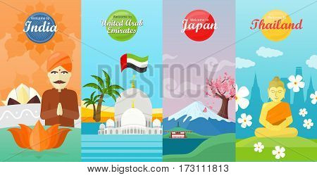 Welcome to Japan, Thailand, India, United Arab Emirates. Set of traveling advertisement banners. Landmarks of the well known asian places of interest on your photo. Vector illustration