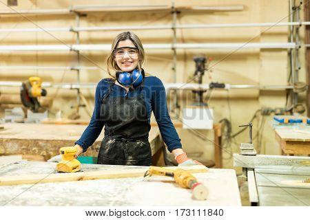 Beautiful Carpenter In A Woodshop