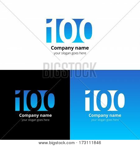 100 logo icon flat and vector design template. Monogram years numbers one and zero. Logotype one hundred with light blue gradient color. Creative vision concept logo, elements, sign, symbol for card.