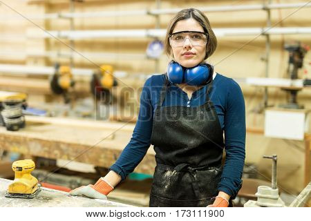 Carpenter Wearing Protective Glasses