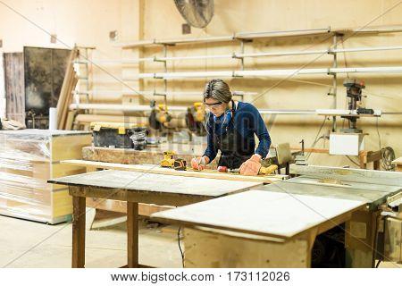 Female Carpenter Doing Some Work