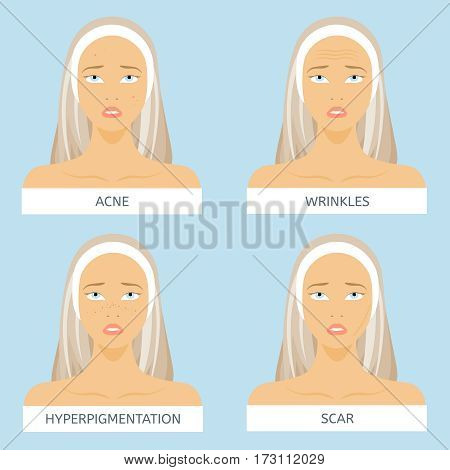 Skin problems: acne, wrinkles, hyperpigmentation, scars. Dermatology and Cosmetology poster