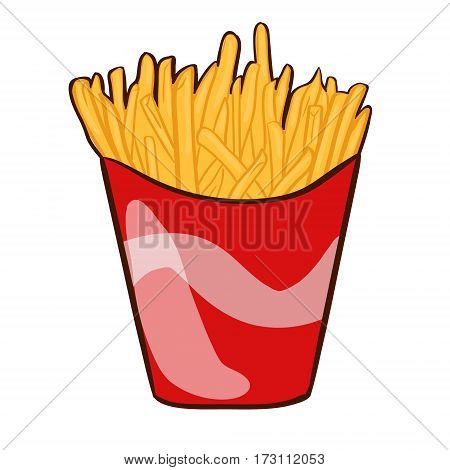 Colorful french fries concept in red paper bucket on white background in flat style isolated vector illustration