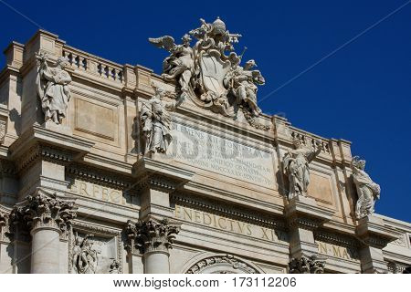 Top of famous Trevi Fountain in Rome Italy.