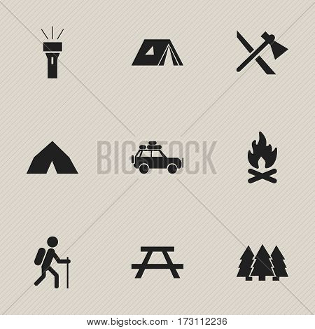 Set Of 9 Editable Travel Icons. Includes Symbols Such As Desk, Voyage Car, Fever And More. Can Be Used For Web, Mobile, UI And Infographic Design.