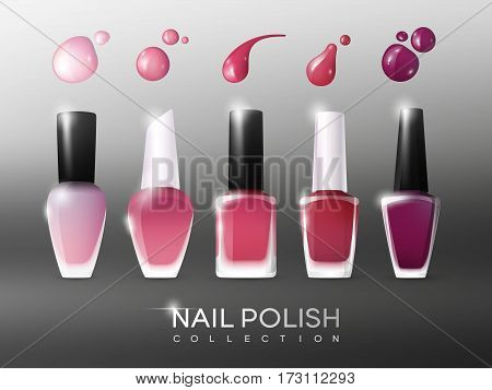 Realistic nail polish collection of different colors with bright drops and blots isolated vector illustration