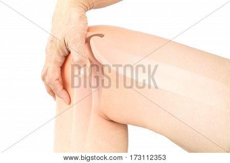 Knee bones pain white background , knee injury