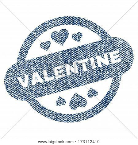 Valentine Stamp Seal vector textured icon for overlay watermark stamps. Blue jeans fabric vectorized texture. Symbol with unclean design. Blue ink rubber seal stamp with fiber textile structure.