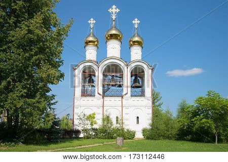 View of a belfry of Sacred and St. Nikolsky Pereslavsky convent in the sunny July afternoon. Pereslavl-Zalessky, Golden Ring of Russia