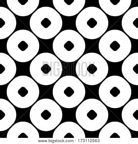 Vector seamless pattern, abstract monochrome geometric background, perforated circles. Simple figures, repeat tiles. Stylish dark modern texture. Black & white. Design for print, decoration, textile, fabric, cloth