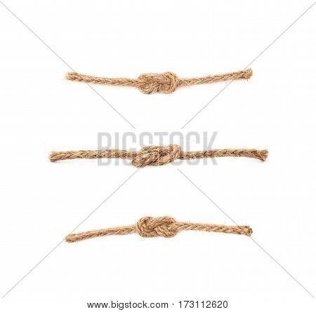 Single knot on a linen rope string isolated over the white background, set of three different foreshortenings