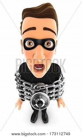 3d thief chained illustration with isolated white background