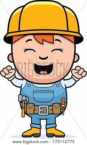 Child Builder Excited